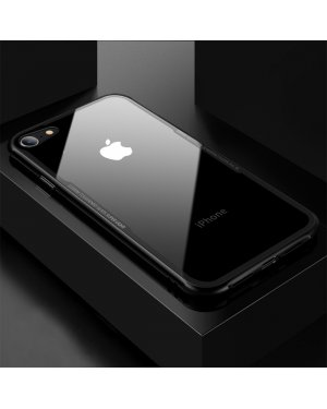 iPhone 8 / 7 / SE (2020) - Glass Case X - Härdat glas - Svart