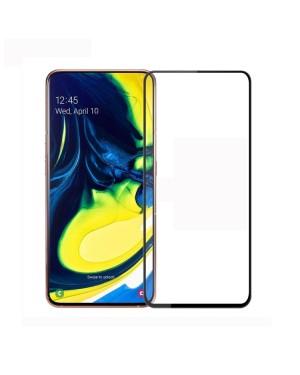 Galaxy A80 / A90 Skärmskydd - Härdat glas - Heltäckande - Svart